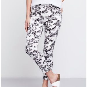 Jen7 Cropped Skinny Floral Orchid Jeans